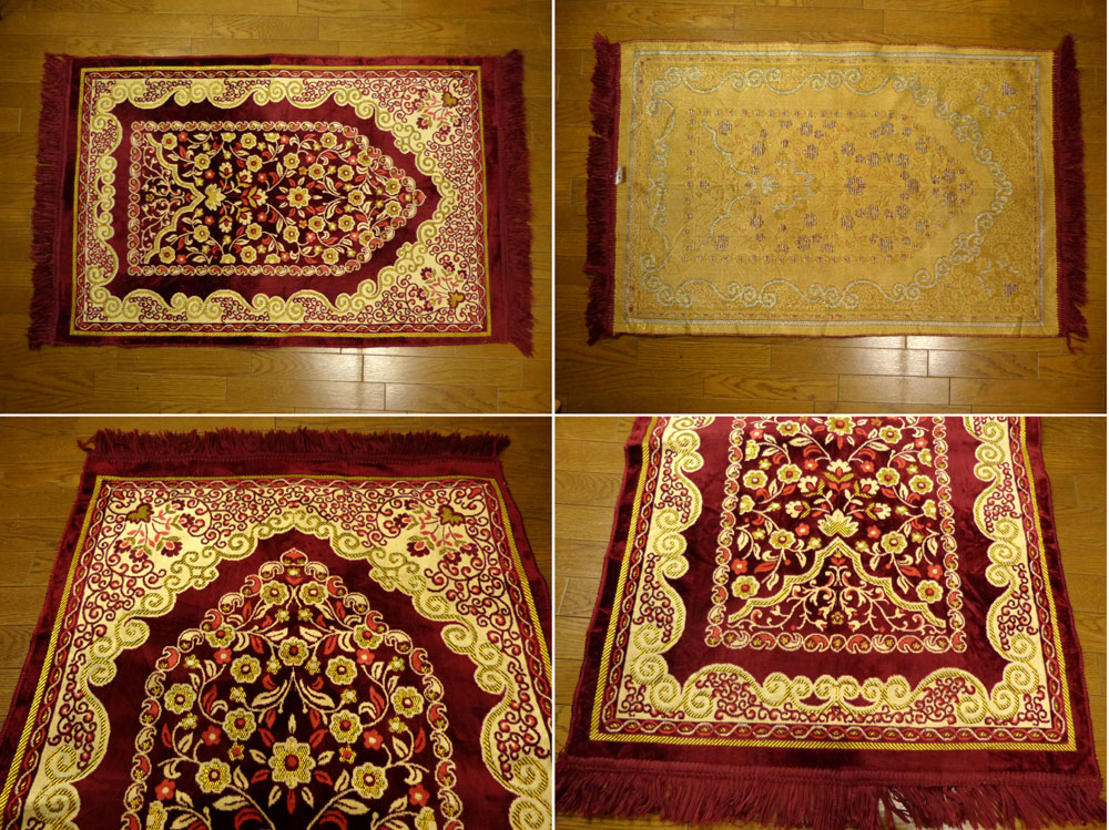 102×67cm トルコ製 ベルベット 花柄 プレイヤーラグマット / カーペット / 絨毯【中古】