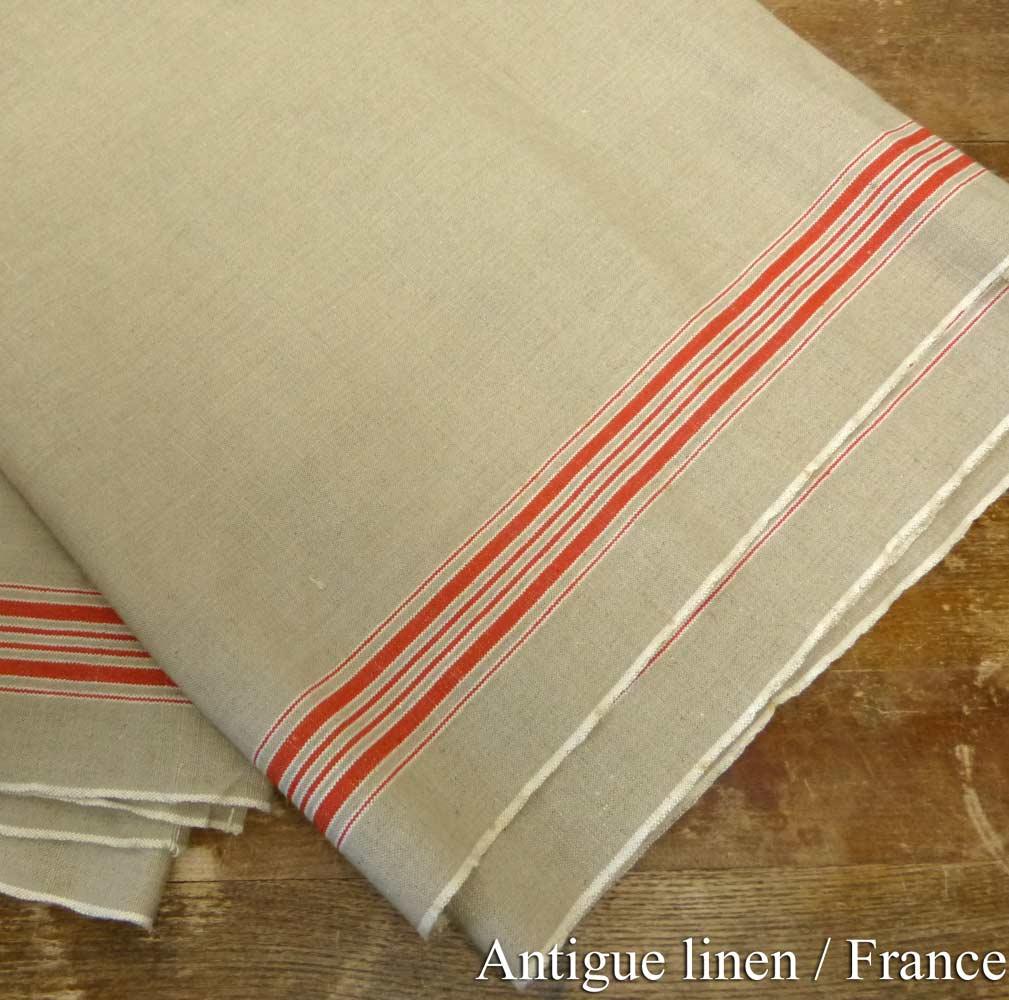 1940年代頃 フランス アンティーク リネンクロス / リメイク生地(276×89cm)【中古】