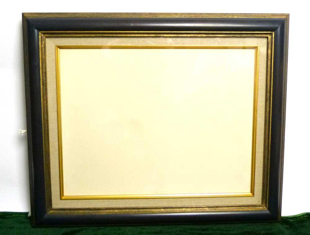 レトロ ヴィンテージ オールド シャビーな額縁×キャンバス付き 2トーン 木製フレーム 油絵6号 / F6 (油彩額縁)【中古】
