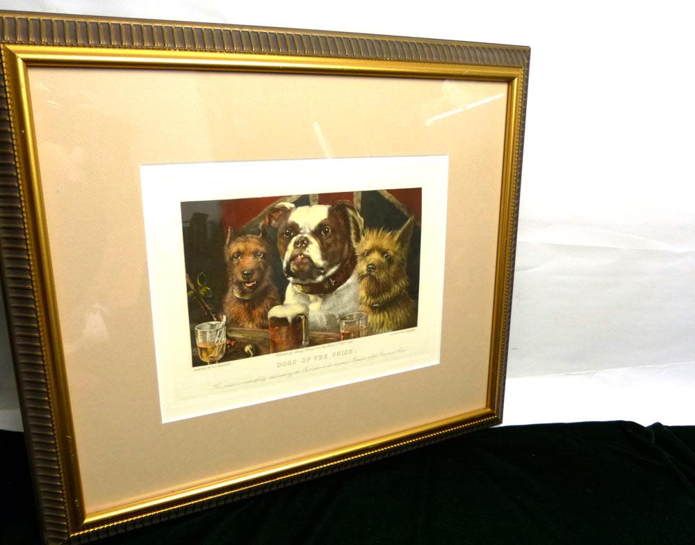 金額縁フレーム R S Moseley Dogs on the union 1865-1893 アート/ポスター/リプリント【中古】【送料無料】