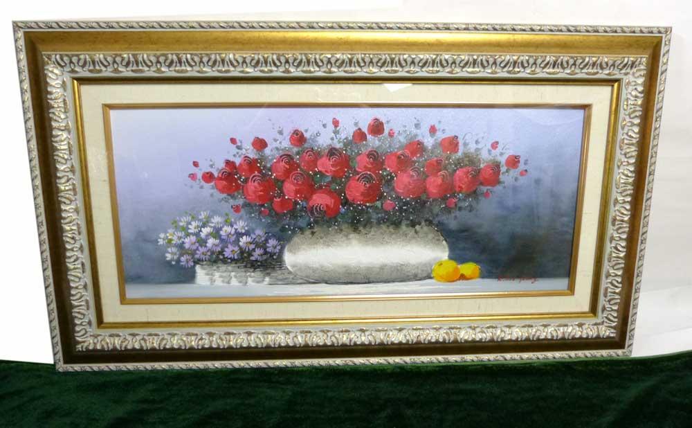 K.Soo Young  花と花瓶 金縁 / 額縁   木製フレーム 油絵(油彩額縁)【中古】