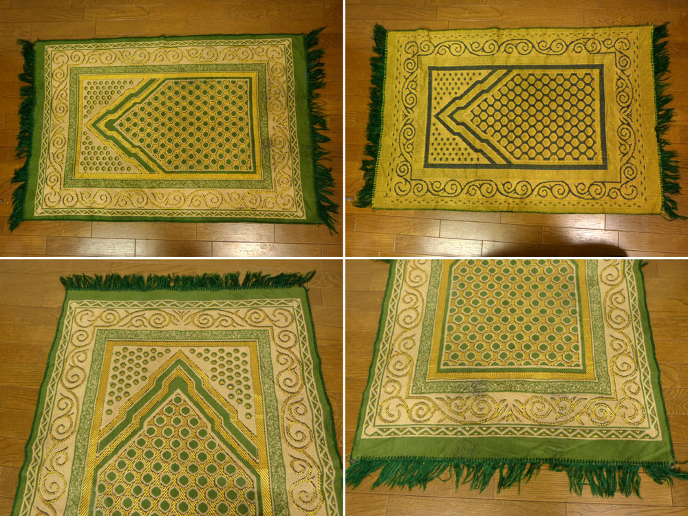 100×65cm 幾何学柄 プレイヤーラグマット / カーペット / 絨毯【中古】
