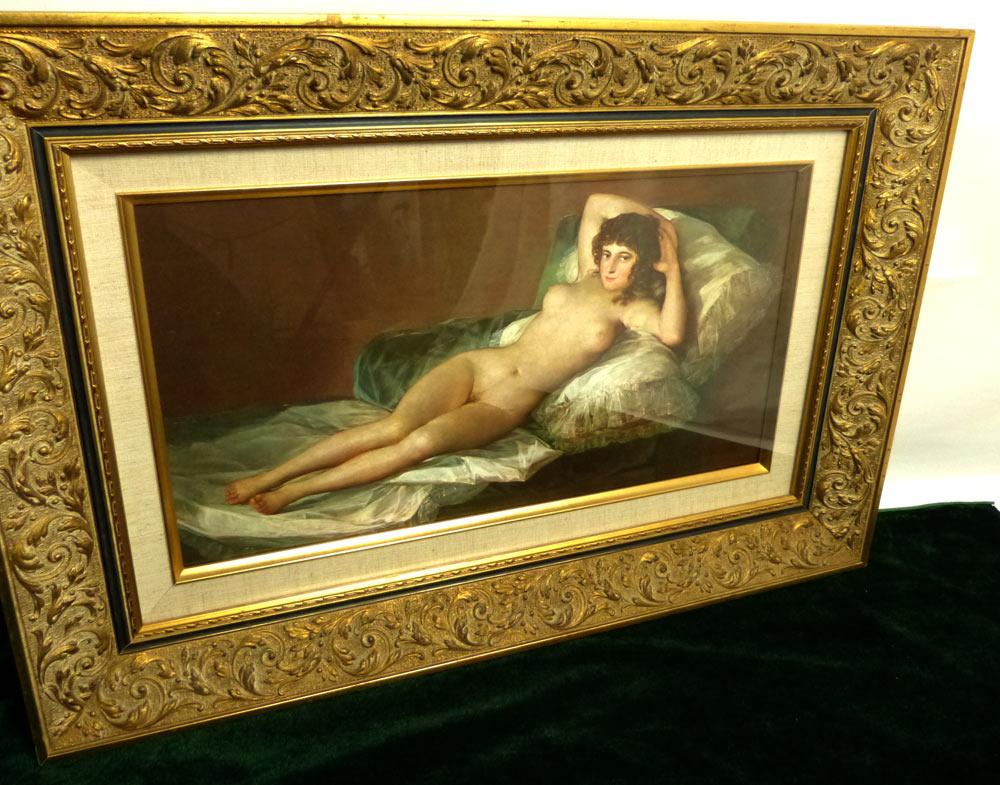 フランシスコ・デ・ゴヤ 「裸のマハ」額装  壁掛け アンティーク  裸婦 立体プリント【中古】