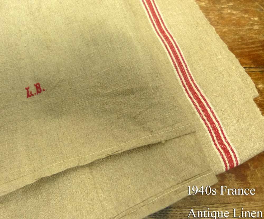 1940年代頃 フランス L.B アンティーク リネンクロス / リメイク生地(288×83cm)【中古】
