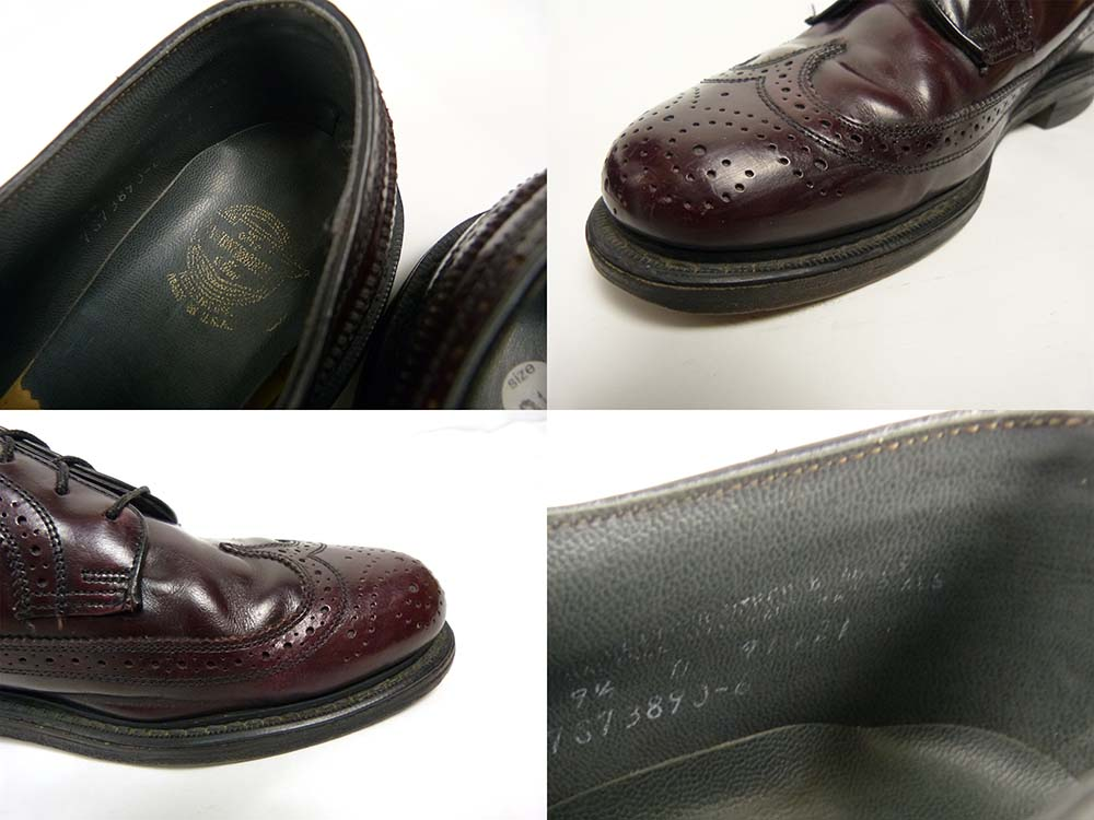 70s フローシャイム FLORSHEIM フルブローグ ロングウィングチップシューズ 9 1/2D(27.5cm相当)(メンズ)【中古】