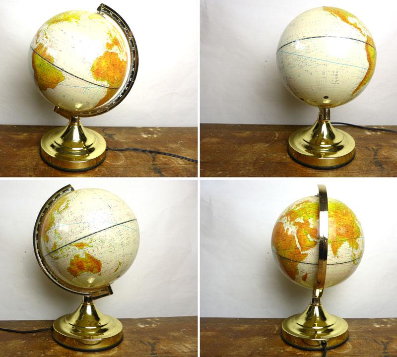 昭和レトロ ライト付 地球儀 照明タイプ 球径18cm globe(白)【中古】