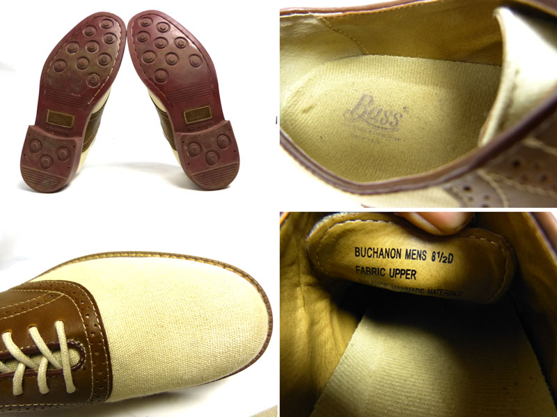 ジーエイチ バスG.H BASS キャンバス ×レザーサドルシューズ 8 1/2D(26.5cm相当)( メンズ )(紳士靴)【中古】