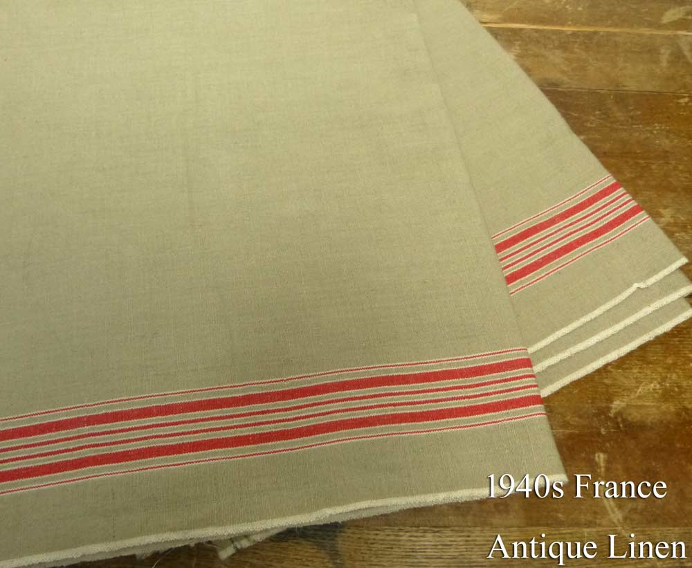 1940年代頃 フランス アンティーク リネンクロス / リメイク生地(276×90cm)【中古】