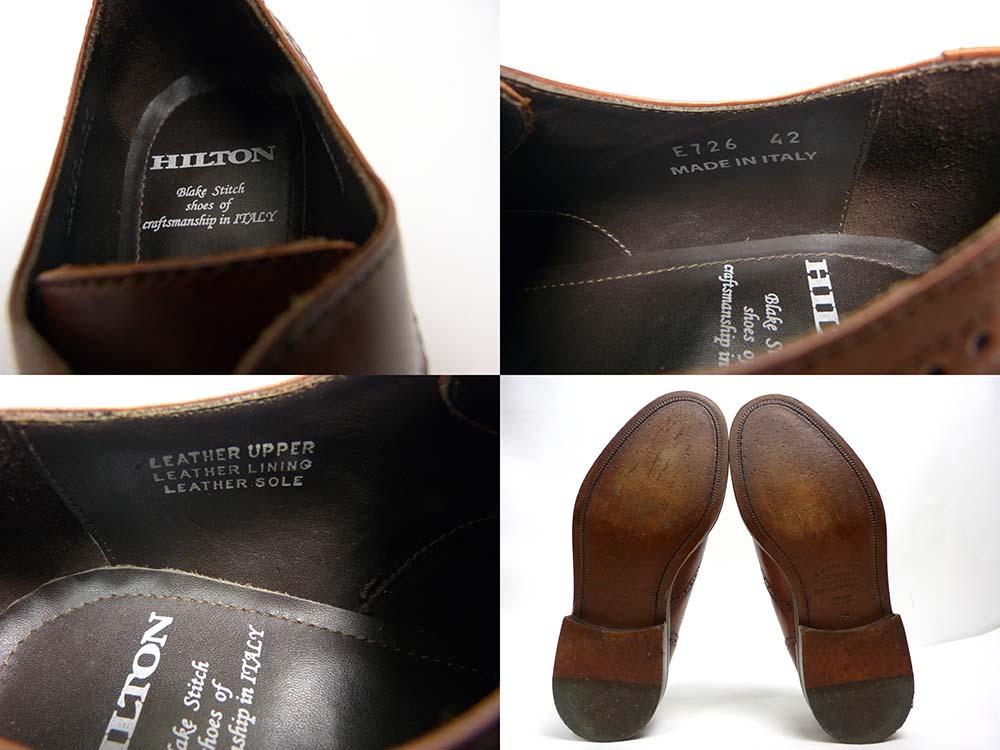 イタリア製 HILTON ヒルトン メダリオン ウイングチップシューズ 42(26cm相当)(メンズ)【中古】