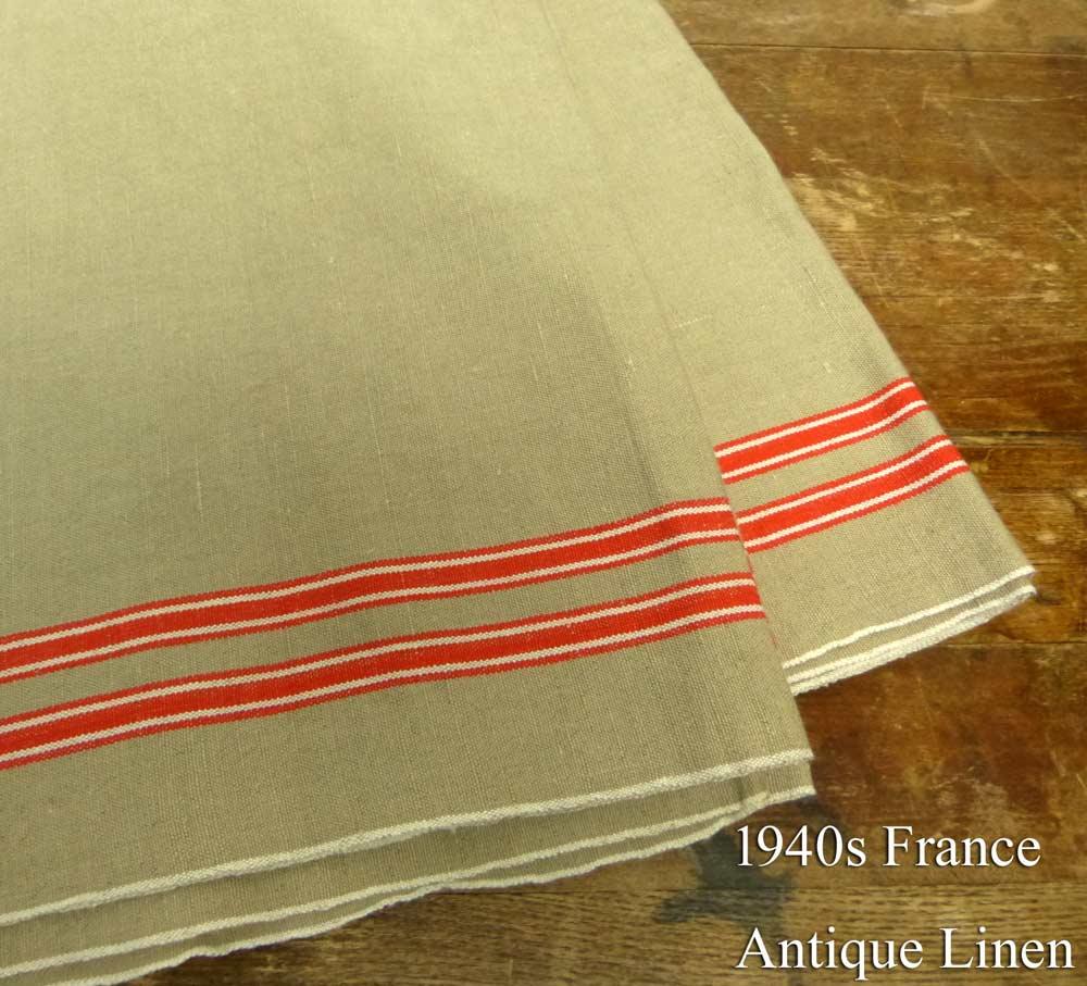 1940年代頃 フランス アンティーク リネンクロス / リメイク生地(239×87cm)【中古】