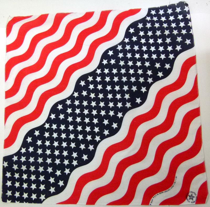 ビンテージ雑貨USA製アメリカ国旗風 バンダナ 【中古】【メール便可】