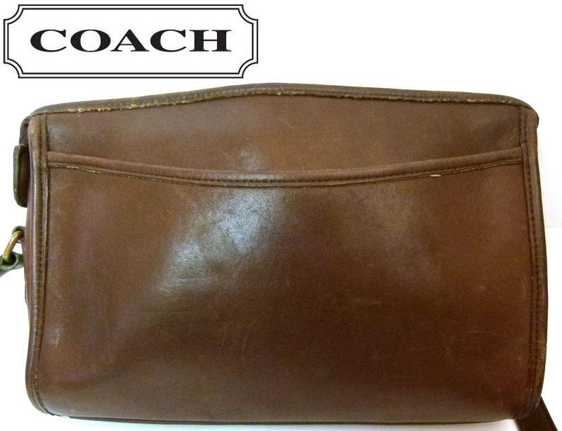 OLDCOACHオールドコーチ本革レザーショルダーバッグ(茶)(メンズ・レディース)【中古】
