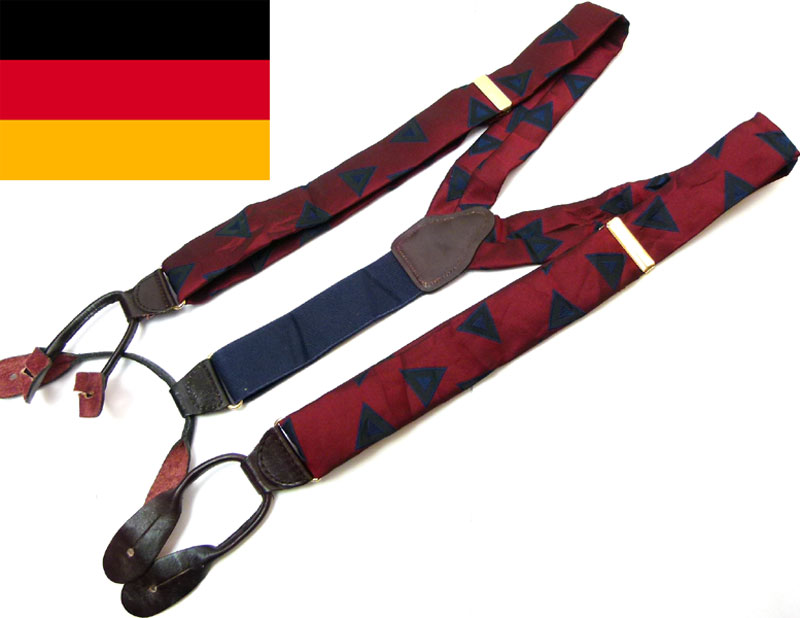西ドイツ製 総柄ボタンタブサスペンダー(メンズ・レディース)(赤紫)【中古】【メール便可】