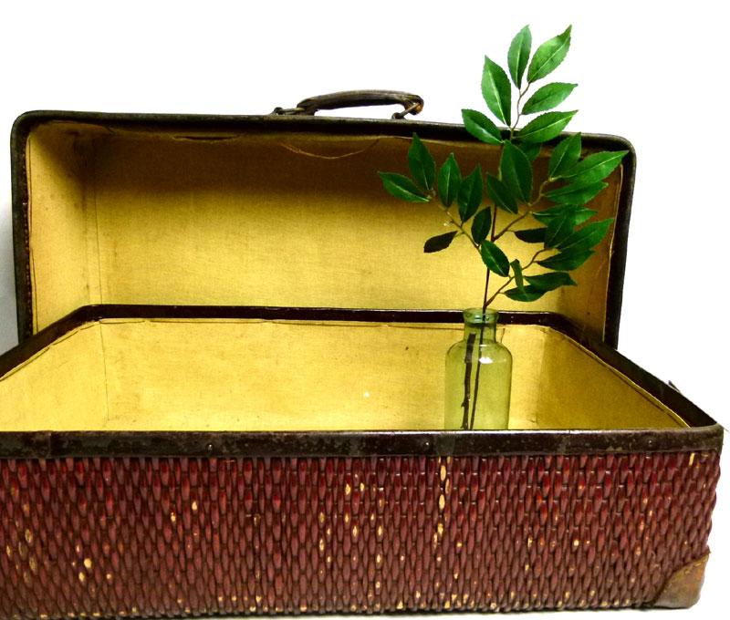 昭和レトロ アンティーク 柳行李トランク オールド スーツケース(赤茶)【中古】