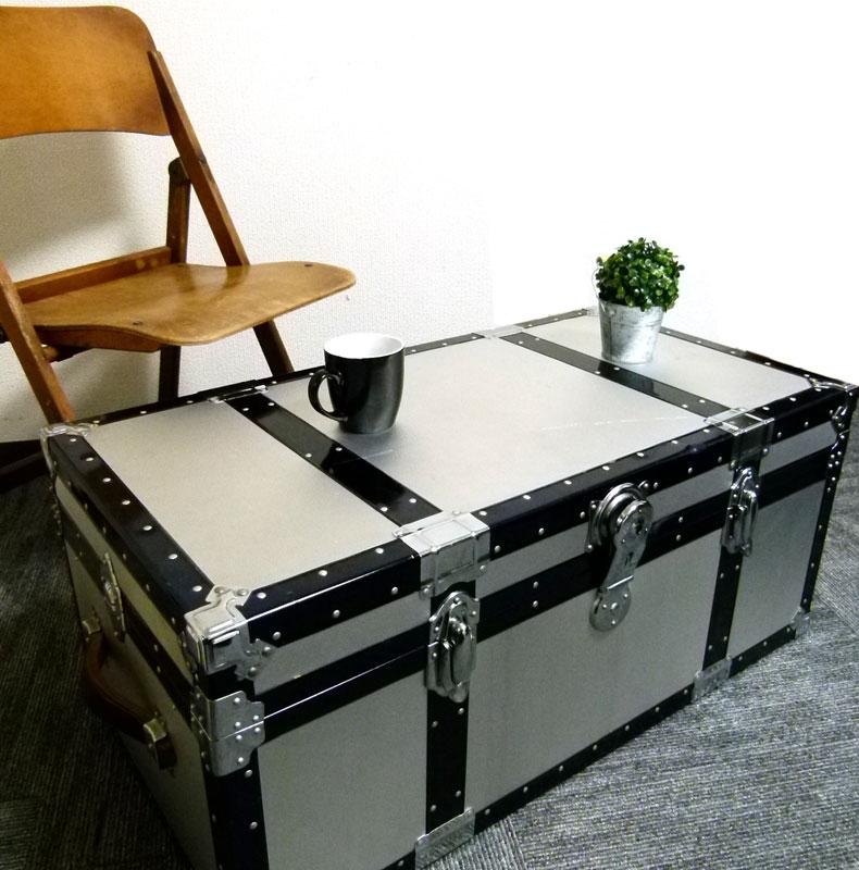 アンティーク ヴィンテージ アルミトランク ローテーブル コーヒーテーブル 船箱【中古】【送料無料】