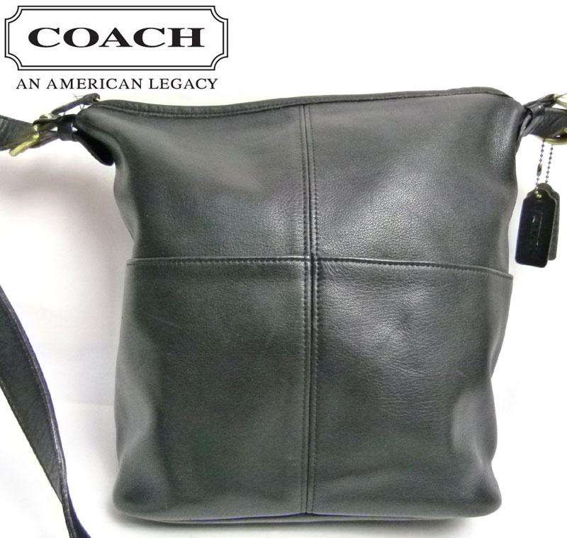 【訳あり】オールドコーチ OLD COACH レザーショルダーバッグ (黒)【中古】