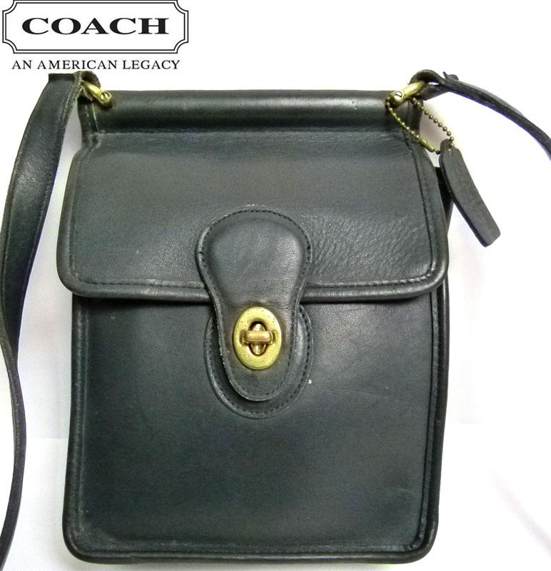 オールドコーチ OLD COACH フラップ レザーショルダーバッグ (黒)【中古】【送料無料】