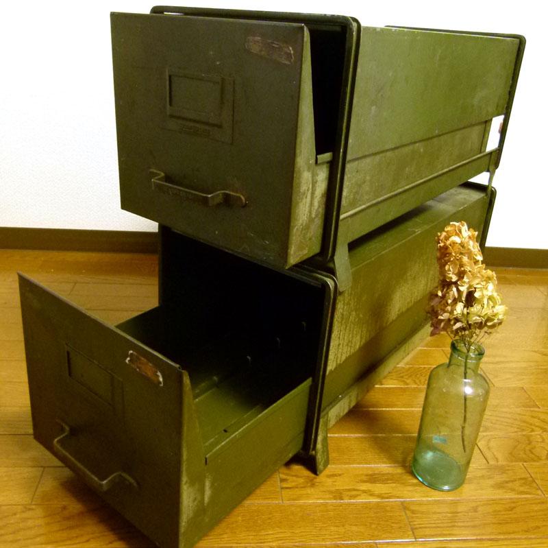 【希少】1910s SHAW WALKER アンティークメタルキャビネット/レターケース(2個セット)【送料無料】