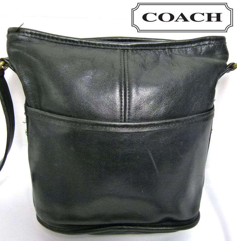 オールドコーチ OLD COACH レザーショルダーバッグ (黒)【中古】