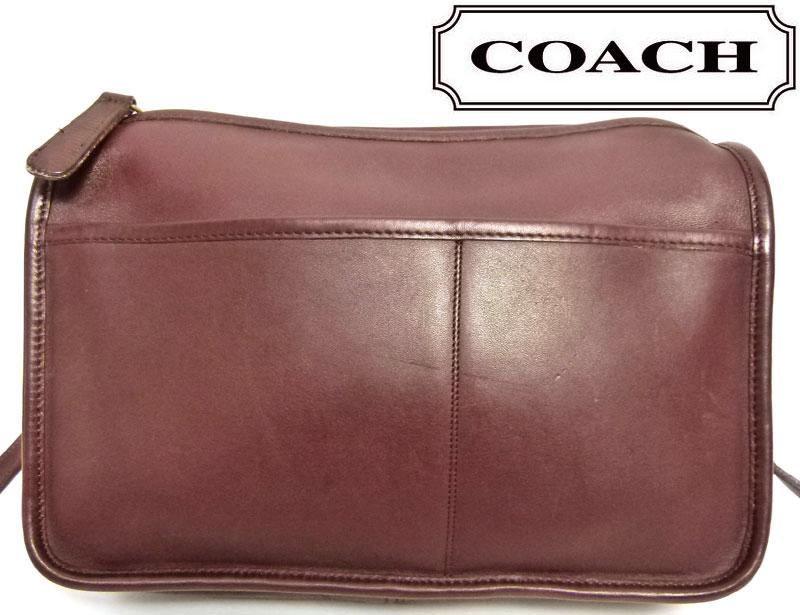 オールドコーチ OLD COACH レザーショルダーバッグ クラッチバッグ (赤紫)【中古】【送料無料】
