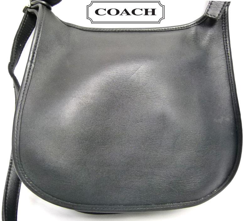 オールドコーチ OLD COACH レザーショルダーバッグ(黒)【中古】【送料無料】