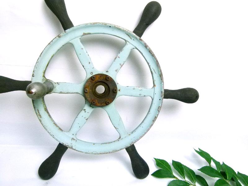 レトロ 船舵 船の舵  アンティーク オブジェ インテリア【中古】【送料無料】