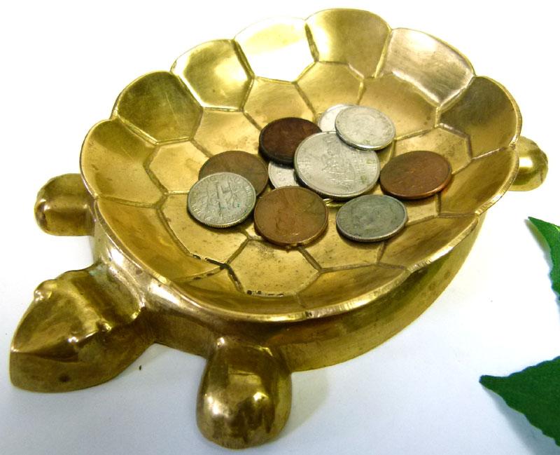 真鍮製 亀型アンティーク コイン(マネー)トレイ / ポケットチェンジ / 小物置き【中古】【メール便可】