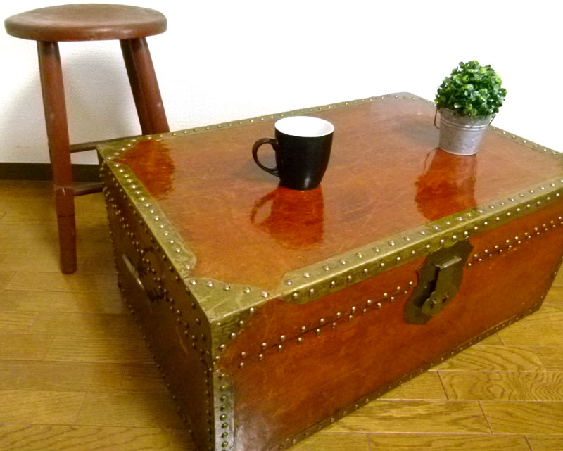 ビンテージ 木製トランク ローテーブル 見せる収納 店舗什器 【中古】【送料無料】