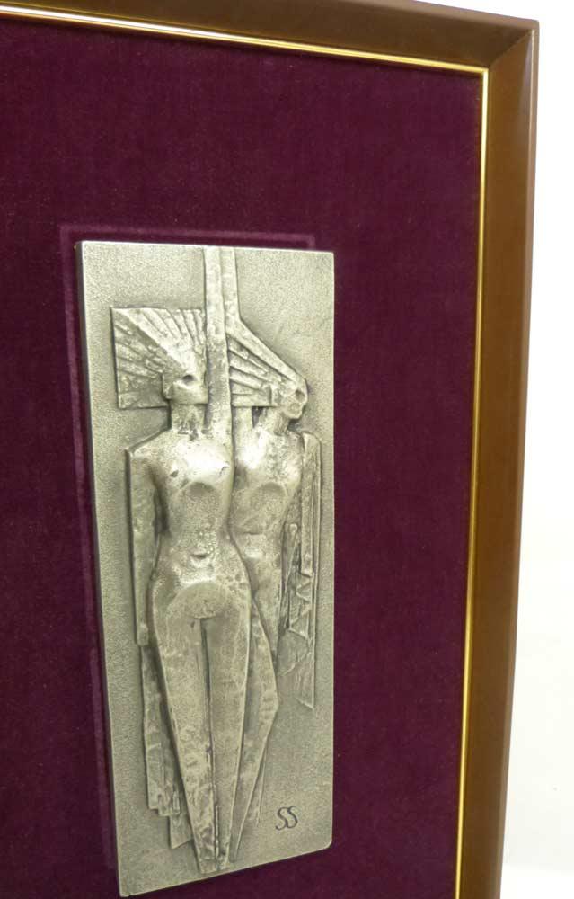 三枝惣太郎 「二人の裸婦」日展彫刻家 SS 日展作家 裸婦 置物 インテリア オブジェ【中古】