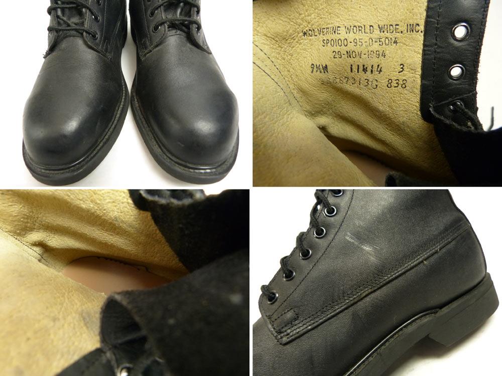 1994年製 U.S.ARMY / 米軍/実物/ ウルバリンwolverneミリタリー編み上げワークブーツ 9 1/2W(27.5-28cm相当) (メンズ)【幅広】【中古】【送料無料】