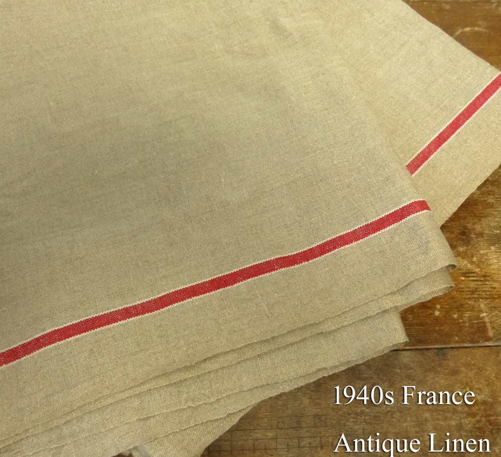 1940年代頃 フランス アンティーク リネンクロス / リメイク生地(292×80cm)【中古】