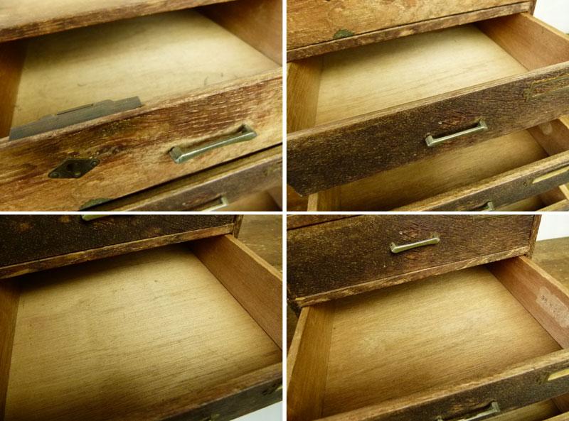 昭和レトロ 古い木味の小引出し 4杯 小箪笥 アンティーク【中古】