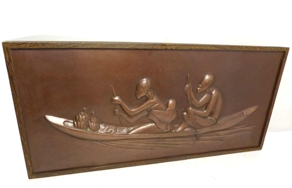 アフリカ人物像レリーフ 銅板 船 額装【中古】
