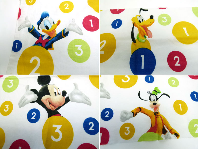 ディズニー ミッキーマウス キャラクター シーツ(160×63cm)/はぎれ【中古】【リメイク生地】【メール便可】
