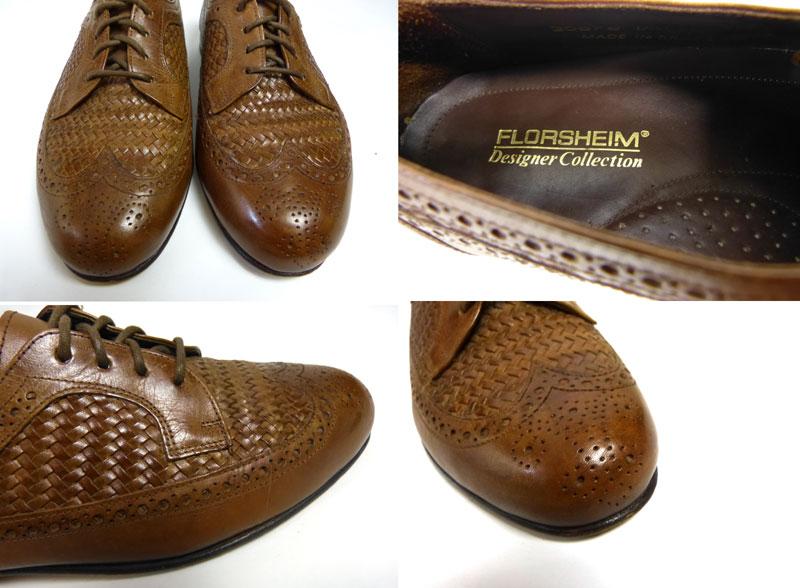 1970s フローシャイム FLORSHEIM デザイナーコレクション ウイングチップ編み込みシューズ 8 1/2EEE(27.5cm相当)(メンズ)【中古】