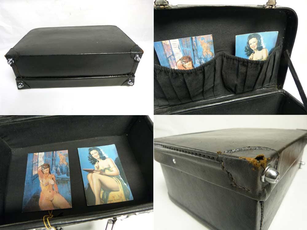 ミニミニ スーツケース / トランク(黒)ビンテージ 小物入れ(鍵付き)【中古】