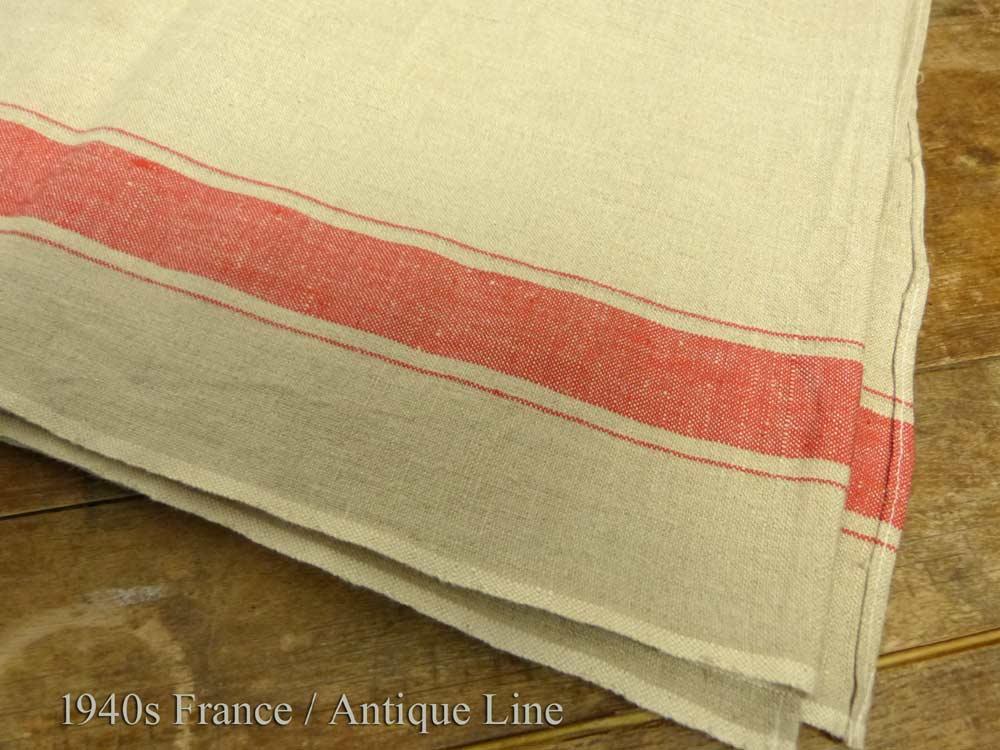 1940年代頃 フランス アンティーク リネンクロス / リメイク生地(190×91cm)【中古】