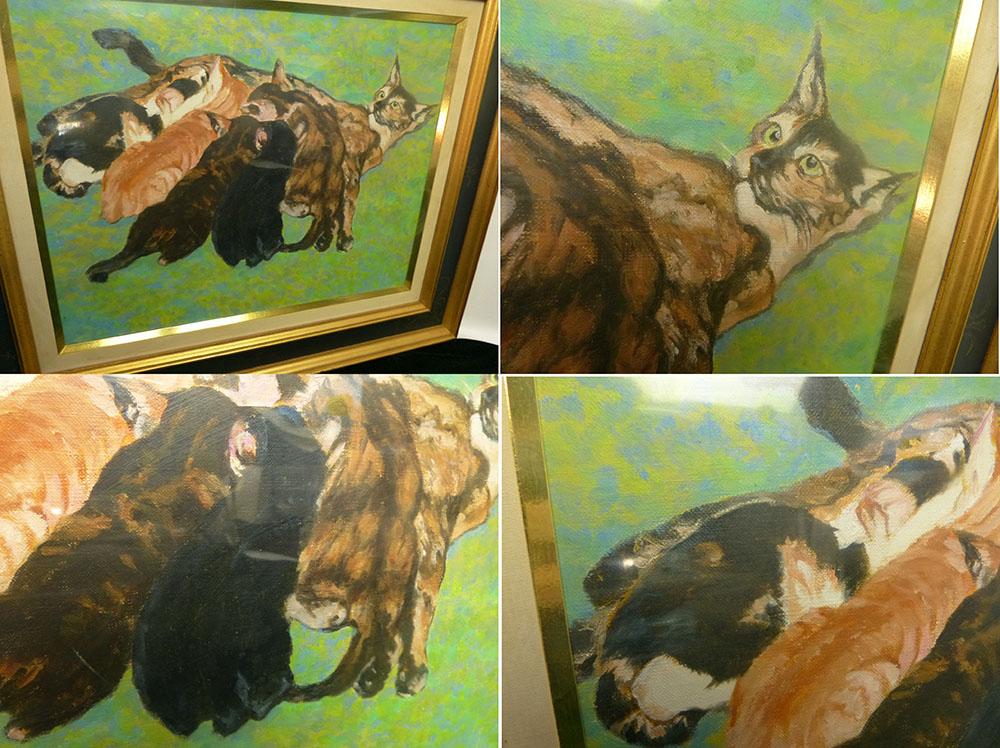 山崎歳夫 「親猫と子猫」油彩画 / 大調和会員 6号/F6【中古】