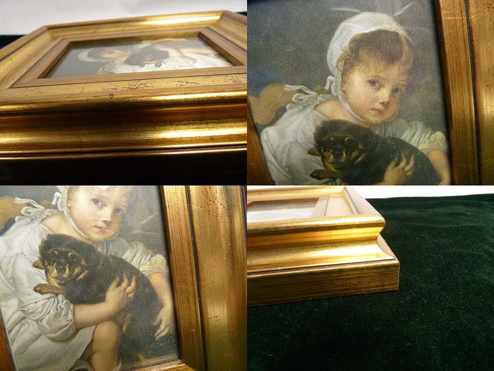 ドイツ Collection Cristina コレクションクリスティーナ / ジャン=バティスト・グルーズ 「犬と遊ぶ子供」布絵【中古】