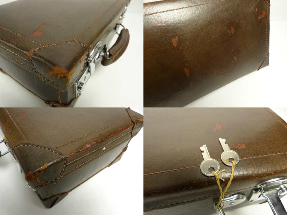 ミニミニ スーツケース / トランク(茶)ビンテージ 小物入れ(鍵付き)【中古】