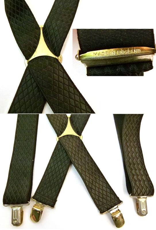 ビンテージ雑貨イングランド製ダイヤ柄 クリップサスペンダー   (黒)( メンズ )【中古】【メール便可】
