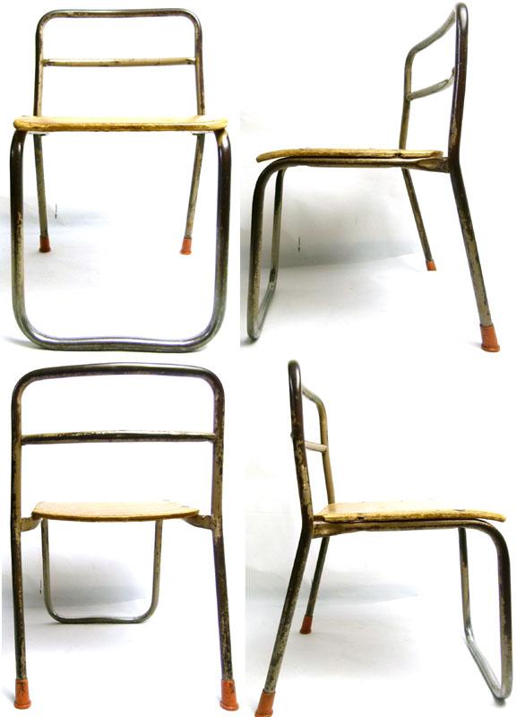 レトロ スクールチェア シャビーな小さな椅子 幼稚園【中古】