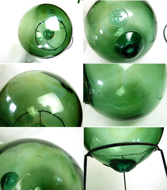 【希少】レトロ ガラス浮球(網無) 浮き玉 台付き  アンティーク 気泡入り【中古】【送料無料】
