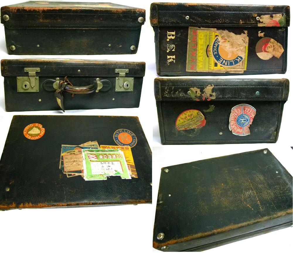 アンティーク トランク オールド スーツケース(黒)【中古】【送料無料】