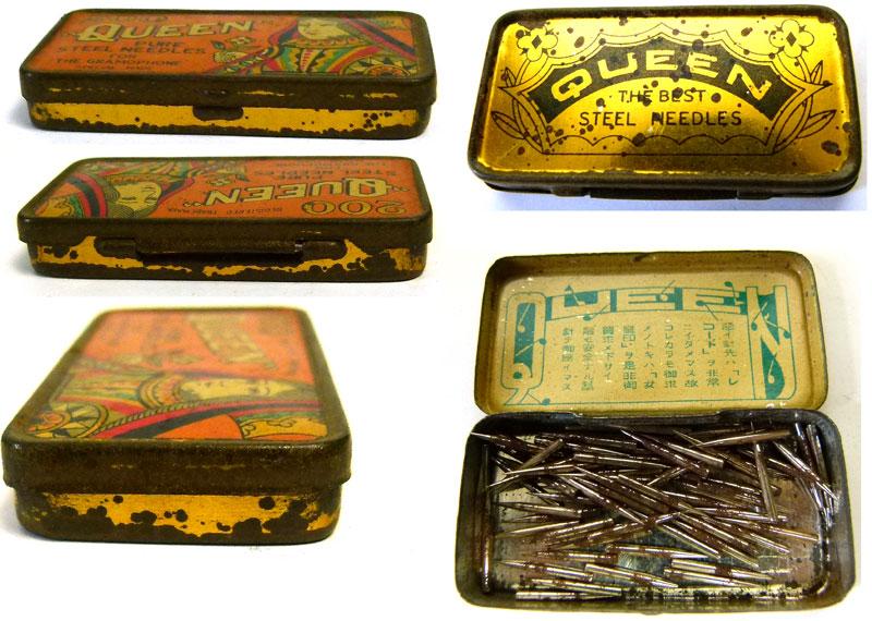 レトロ QUEEN古い蓄音機針缶 / ブリキ缶 / ニードル缶【中古】【メール便可】