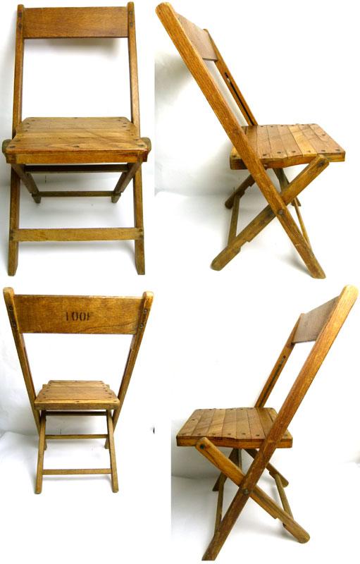 1940s アンティーク フォールディング木製チェア 折り畳みイス【中古】【送料無料】