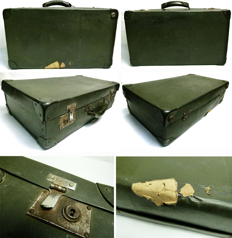 【訳あり】アンティーク トランク オールド スーツケース レトロ(緑)【中古】