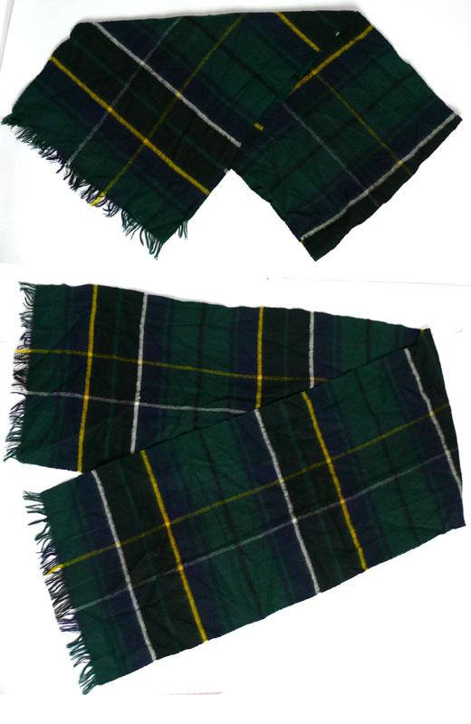 70sスコットランド製ウール×カシミアチェックマフラー(メンズ・レディース)【中古】