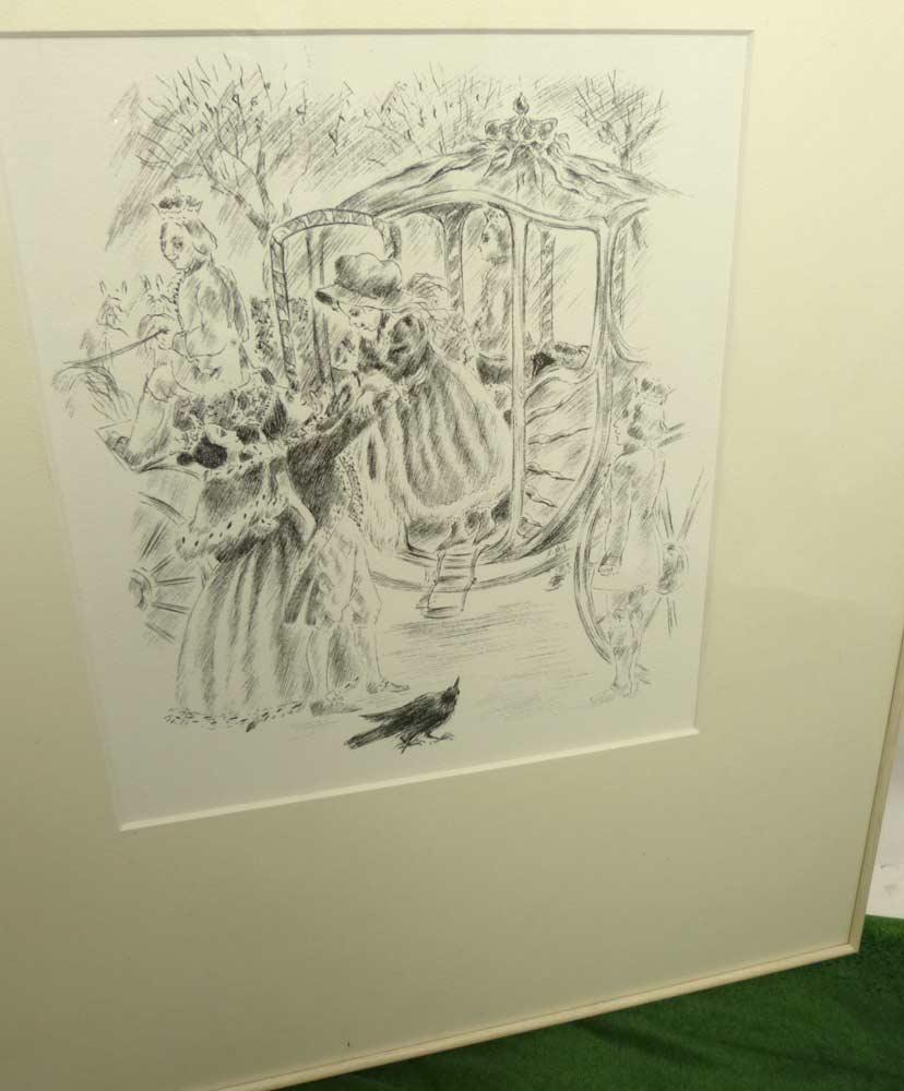 フランス製 アルシュ紙 プリント/アート 額装 (四ツ切)(マット紙付き)【中古】