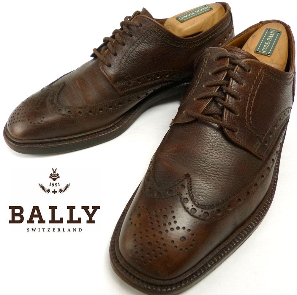 バリー BALLY SUISSE シボ革 ウイングチップシューズ 7E(25.5-26cm相当) (メンズ)【中古】